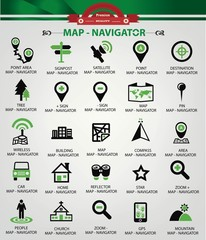 Map,Navigator icons,Green version,vector