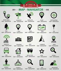 Map,Navigator icons,Green version,vector