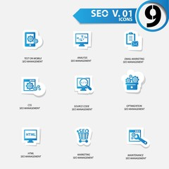 SEO icons set 1,Blue version vector