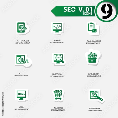 SEO icons set 1,Green version vector