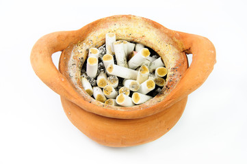 ashtray with a lot of cigarette butts isolated