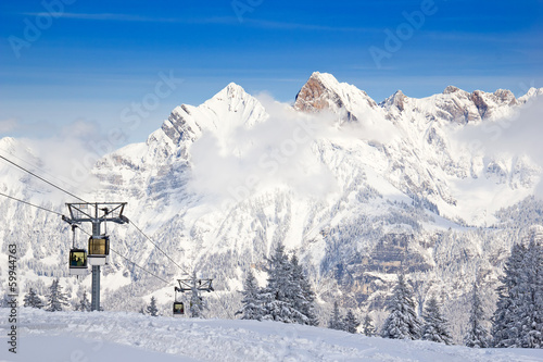 Skiing in alps