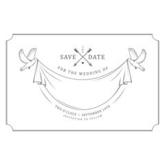 Vintage wedding invitation stamp with flying pigeons