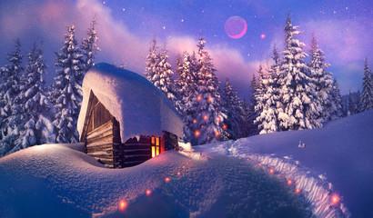 wooden house as Santa Claus