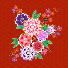 Decorative kimono floral motif on red background