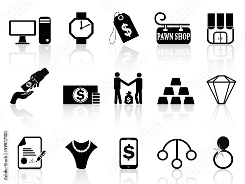 pawn shop icons set