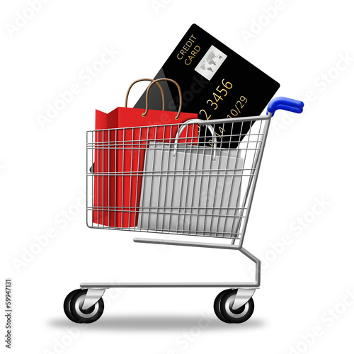 creditcard with shopping bag on shopping cart on white backgroun