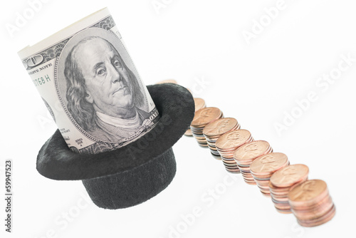 One hundred dollar banknote in a hat and a row of pennies