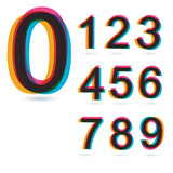 Colorful retro Numbers set.