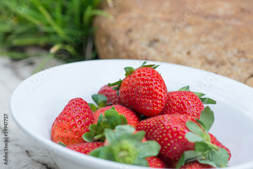 Strawberries in a bowl in the garden