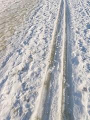 Tracks of skiing