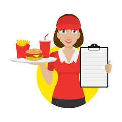 Waitress holds tray and shows menu