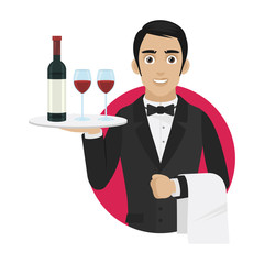 Waiter holds tray with wine and glasses