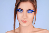 Beauty Girl Portrait with Colorful False Eyelashes