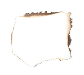 Burned paper with shadow on white background  (clipping path)