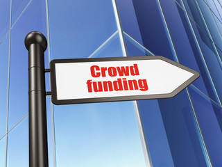 Finance concept: sign Crowd Funding on Building background