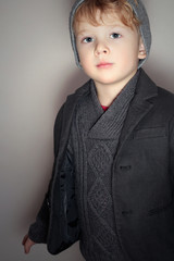 Fashion Little Boy in Gray Cap.Children.Handsome Child