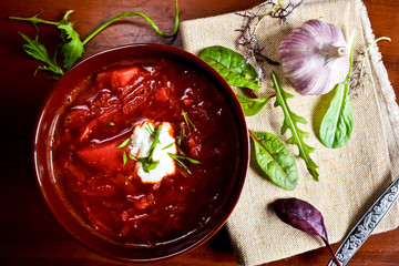 Ukrainian borsch and greens