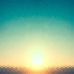 abstract background evening or dawn sun of hexagons