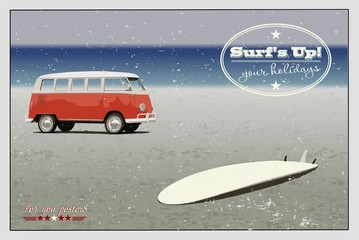Retro minibus and surf on the beach