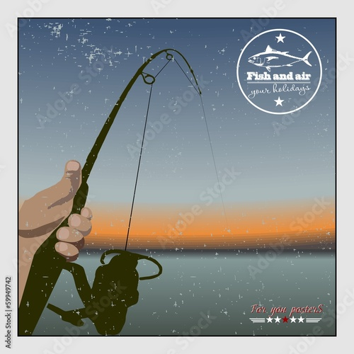 Fishing at sunset. Retro poster