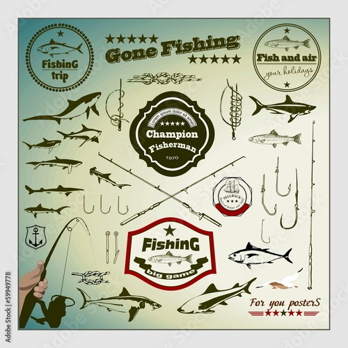 Vector Set: Vintage Fishing Labels and Stamps
