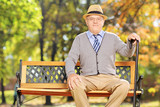 Relaxed senior gentleman sitting on a bench outdoor