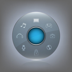 transparent glass button with icon