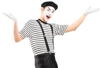 Mime dancer gesturing with hands
