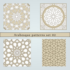 Set of four arabesque seamless pattern
