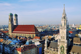 Aerial view of New Town Hall in Munich, Germany with Frauenkirch