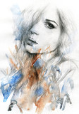 Fototapety Beautiful woman. watercolor illustration
