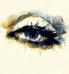 Woman eye . Hand painted fashion illustration