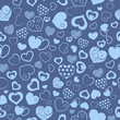 Seamless pattern of hearts, light blue on dark blue