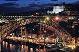Aerial view of night Porto, Portugal with Bridge