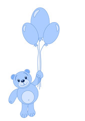 Illustration of cute Teddy Bear with balloons.
