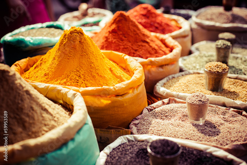 Indian colored spices at local market.