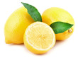 Lemon with green leaves isolated on white background