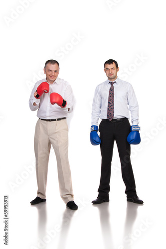 business mans with boxing gloves