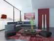 Living Room Interior with red wall and carpet