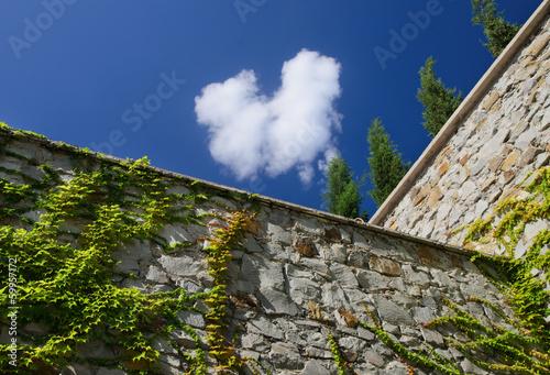 High stone perimeter wall