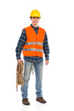 Construction worker in reflective clothing holding bundle rope.