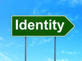 Safety concept: Identity on road sign background