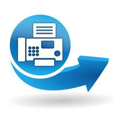 fax sur bouton web bleu
