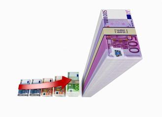 Euro banknotes - on white background