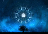 Zodiac Signs Horoscope with the tree of life and universe poster