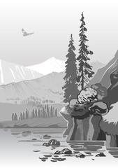 beautiful grayscale mountain landscape