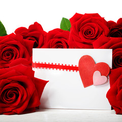Hearts greeting card with beautiful red roses