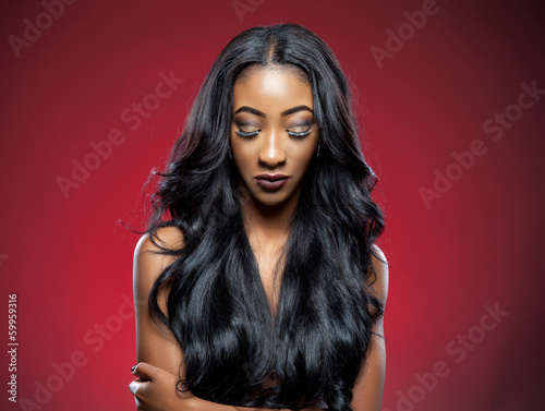 Black beauty with elegant curly hair