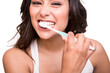 Woman holding a tooth brush - 59959573